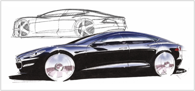 Drawing & Real Luxury Car